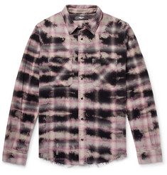 AMIRI Distressed Tie-Dyed Checked Cotton-Flannel Shirt