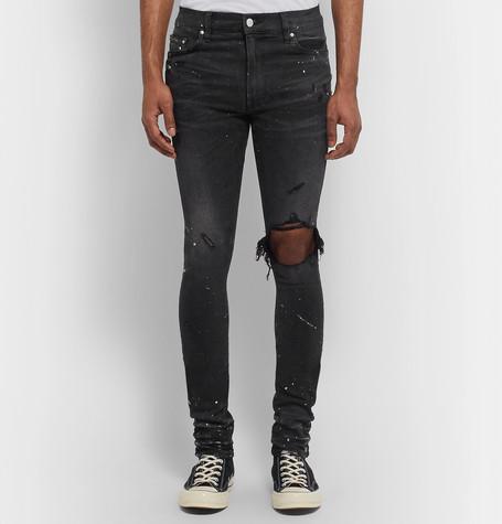 Skinny Fit Distressed Embellished Stretch Denim Jeans by Amiri