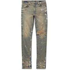 Skinny Fit Paint Splattered Distressed Stretch Denim Jeans by Amiri