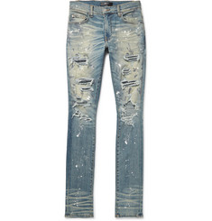 AMIRI - Crystal Thrasher Skinny-Fit Embellished Painted Distressed Stretch-Denim Jeans