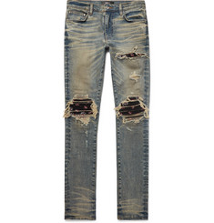 AMIRI MX1 Skinny-Fit Rib-Panelled Distressed Stretch-Denim Jeans