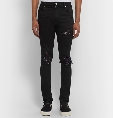 Mx1 Skinny Fit Bandana Panelled Distressed Stretch Denim Jeans by Amiri