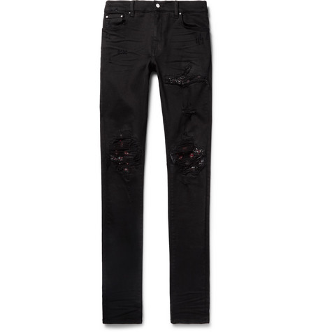 Mx1 Skinny-fit Bandana-panelled Distressed Stretch-denim Jeans - Black