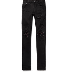 AMIRI MX1 Skinny-Fit Bandana-Panelled Distressed Stretch-Denim Jeans