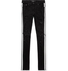 AMIRI - Track Skinny-Fit Striped Distressed Stretch-Denim Jeans