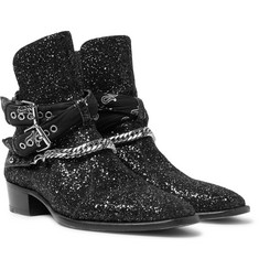 AMIRI Bandana and Chain-Detailed Glittered Leather Jodhpur Boots