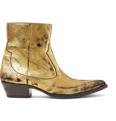 AMIRI Distressed Metallic Suede Boots