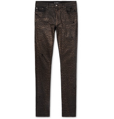 AMIRI - Skinny-Fit Metallic Leopard-Print Coated Stretch-Denim Jeans