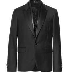 AMIRI Black Slim-Fit Leather-Trimmed Virgin Wool Blazer