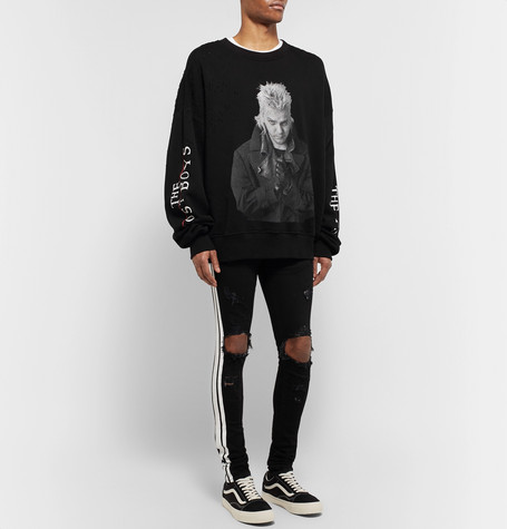 Oversized Distressed Printed Fleece Back Cotton Jersey Sweatshirt by Amiri