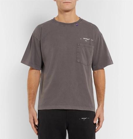 bdbca211 Shoptagr | Logo Print Distressed Cotton Jersey T Shirt by Off White