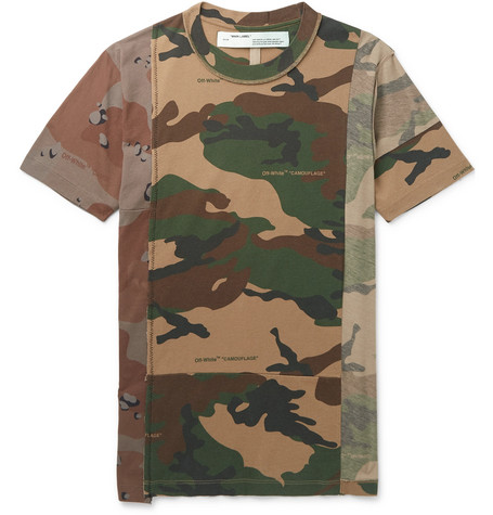 Deconstructed Camouflage-print Cotton-jersey T-shirt