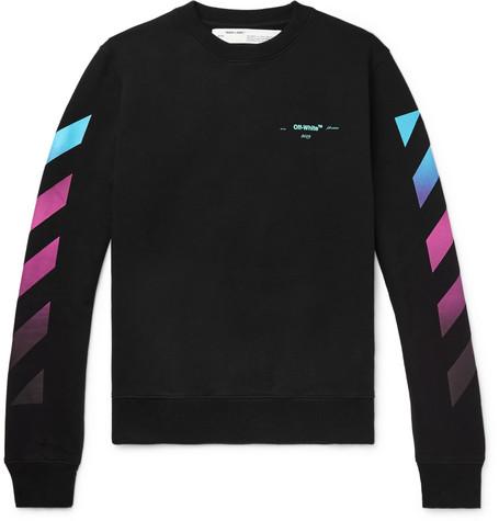 Off-White – Logo-print Fleece-back Cotton-jersey Sweatshirt – Black