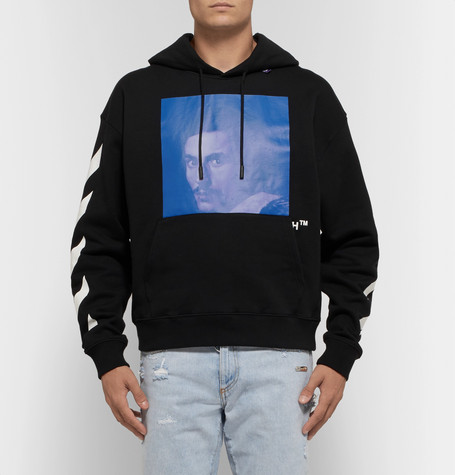Printed Fleece Back Cotton Jersey Hoodie by Off White