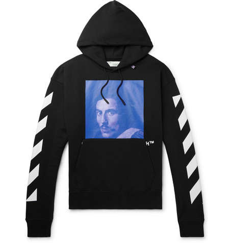 d0a3a125af1 Off-White Oversized Bernini-Print Cotton Hooded Sweatshirt In Black ...