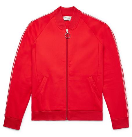 Slim-fit Webbing-trimmed Tech-jersey Jacket