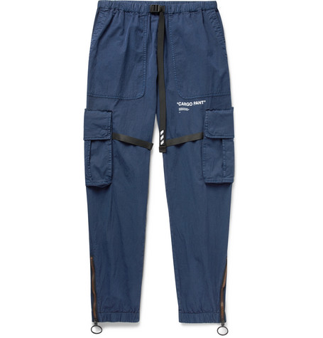 Tapered Webbing Trimmed Cotton Blend Cargo Trousers by Off White