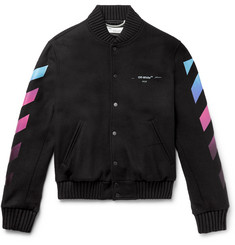 Off-White Logo-Print Virgin Wool-Blend Bomber Jacket