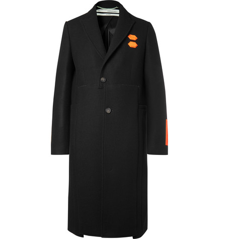 Logo Appliquéd Virgin Wool Blend Coat by Off White