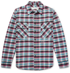 Off-White - Printed Checked Cotton-Blend Flannel Overshirt