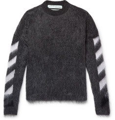 Off-White Intarsia Mohair-Blend Sweater