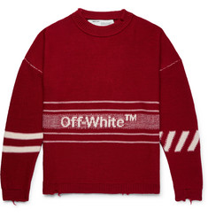 Off-White Oversized Distressed Logo-Intarsia Wool Sweater