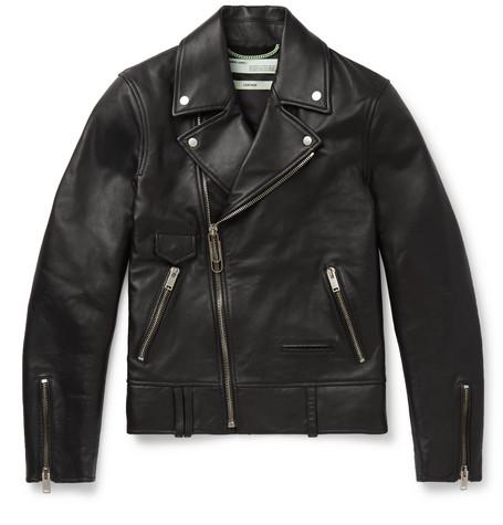 Slim-fit Printed Leather Biker Jacket