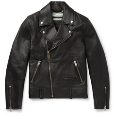 Off-White Slim-Fit Printed Leather Biker Jacket