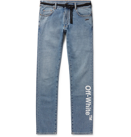 Skinny Fit Printed Stretch Denim Jeans by Off White