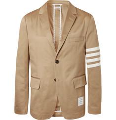 Thom Browne 톰 브라운 Tan Slim-Fit Unstructured Striped Cotton-Twill Blazer,Tan