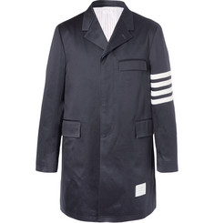 Thom Browne Striped Cotton-Twill Chesterfield Coat