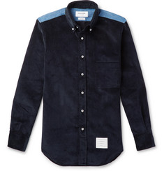 Thom Browne - Slim-Fit Button-Down Collar Denim-Panelled Cotton-Corduroy Shirt