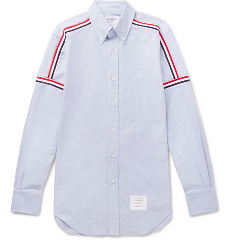Thom Browne – Slim-fit Button-down Collar Striped Cotton Oxford Shirt – Light blue