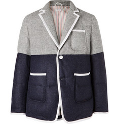 Thom Browne Slim-Fit Contrast-Tipped Two-Tone Quilted Wool Down Blazer