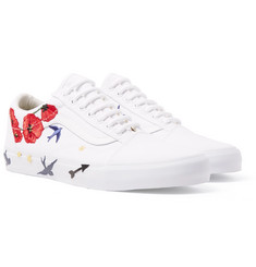 Vans - Old Skool Embellished Leather-Trimmed Canvas Sneakers
