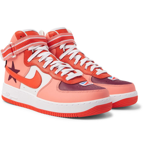 Nike Leathers + RICCARDO TISCI AIR FORCE 1 LEATHER HIGH-TOP SNEAKERS - RED