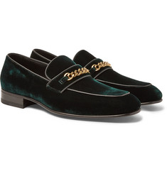 TOM FORD Leeds Chain-Trimmed Velvet Loafers