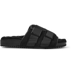 TOM FORD Churchill Shearling-Lined Leather-Trimmed Suede Slides