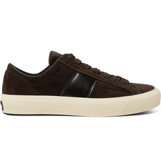 TOM FORD Cambridge Leather-Trimmed Velvet Sneakers