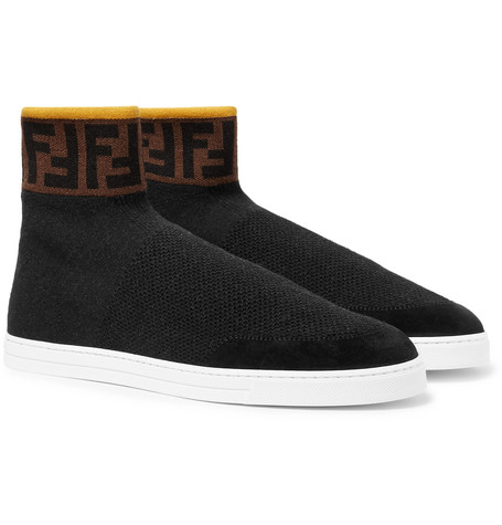dbc63b4801 Logo-Jacquard Suede-Trimmed Stretch-Knit High-Top Sneakers in Black
