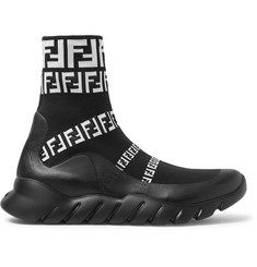 Fendi Coated Logo-Jacquard Stretch-Knit High-Top Slip-On Sneakers