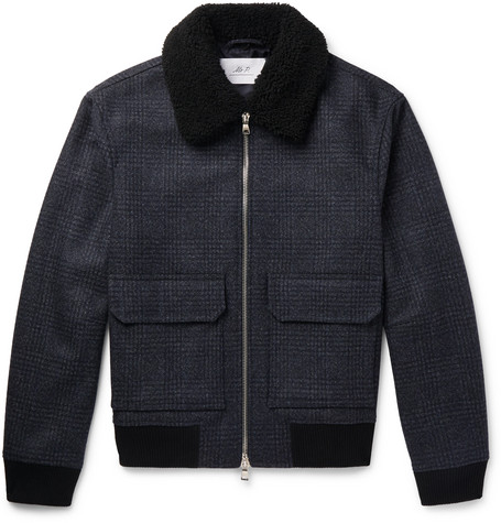 MR P. Shearling-Trimmed Checked Wool-Blend Aviator Jacket - Navy