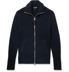 TOM FORD - Suede-Trimmed Wool Zip-Up Cardigan