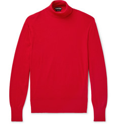 TOM FORD - Ribbed Cashmere and Silk-Blend Rollneck Sweater