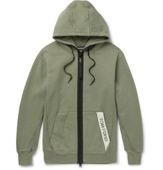 TOM FORD Oversized Logo-Trimmed Garment-Dyed Loopback Cotton-Jersey Hoodie