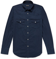 TOM FORD Slim-Fit Indigo-Dyed Cotton-Chambray Western Shirt