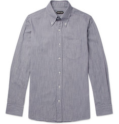 TOM FORD Slim-Fit Button-Down Collar Striped Cotton Shirt