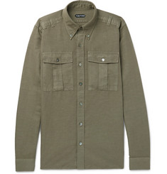 TOM FORD - Slim-Fit Button-Down Collar Linen And Cotton-Blend Shirt