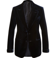 TOM FORD Navy Shelton Slim-Fit Velvet Blazer