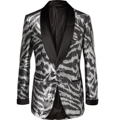TOM FORD Aticus Satin-Trimmed Jacquard Tuxedo Jacket